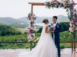 Deux Mariés Sous Une Arche De Fleurs Avec Vue Sur Les Collines Verdoyantes